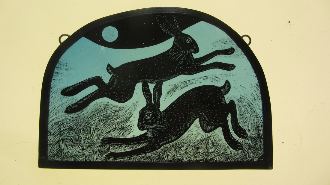 Frosty Full Moon, Two Hares, Tamsin Abbott